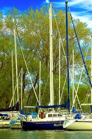 motu:  fishing boats ready for sail on a bright sunny day