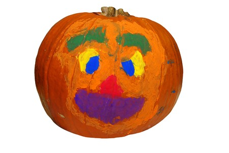 Big Halloween pumpkin painted with bright colors photo