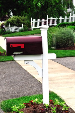 a beautiful red metail mail box at an american home Stock Photo - 4190517