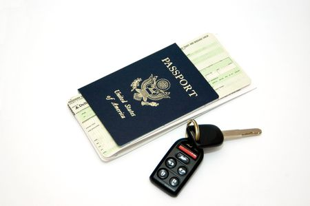 Tickets, Passport and keys isolated on white backround photo