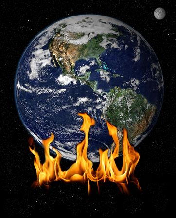ozone layer: Flames over earch concept of global warming Stock Photo