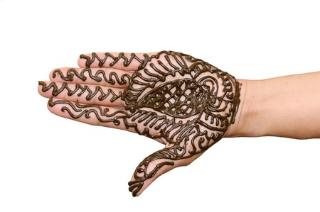a design on hands against a white  background