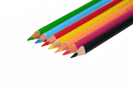 Colored pencils isolated on white  back ground