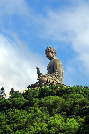 buddha face: Tian Tan Giant Buddha overlooking with love from Hong Kong China
