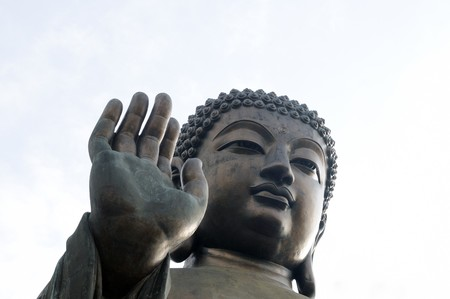 Tian Tan Giant Buddha overlooking with love from Hong Kong China  photo