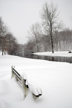A local park fully covered with snofall in winer photo