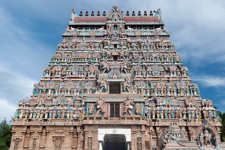 finest: Architecture at finest in the Chidambaram temple South India Stock Photo