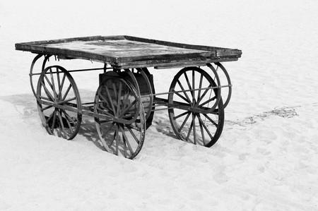 A deserted cart at a local beach photo