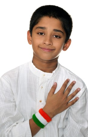 An handsome Indian kid showing his love for the country photo