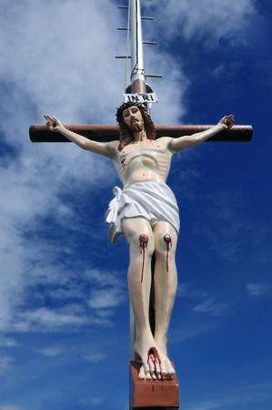 十字架のイエスの画像箇条 写真素材