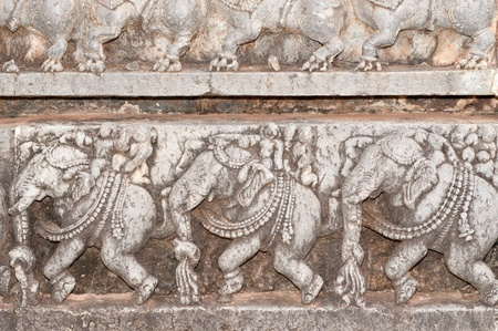 pallava: A section from the world famous hoysala architecture in India
