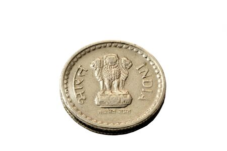 indian money: A five rupee coin isolated on a white background Stock Photo