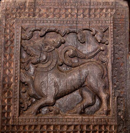 Famous ancient wood carvings at Embekke Temple near Kandy SriLanka