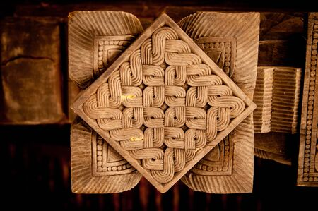 workship: Famous ancient wood carvings at Embekke Temple near Kandy SriLanka