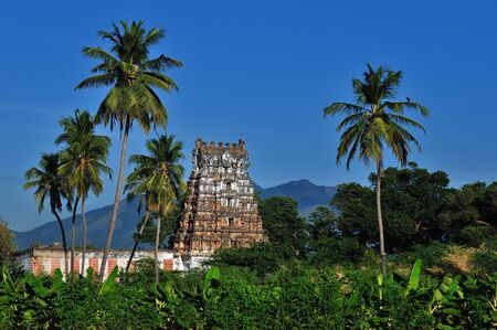 mariamman: An ancient hindu temple with copy space at the top