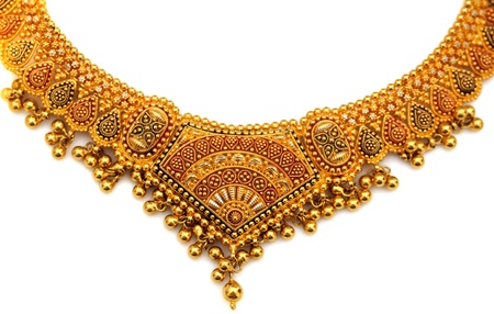 diamond stones: authentic indian jewellery isolated on a whiet background