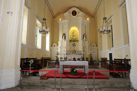 Beautiful interior of a protestean church at Macau