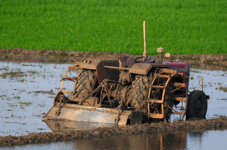 agricultural land being ploughed using an old tractyor in modern india photo