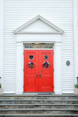 brightly colored church gate on an overcast day Stock Photo - 8900192