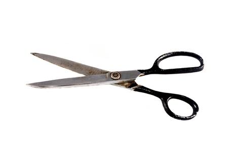 antique scissors: Un vecchio antico forbici isolato su sfondo bianco Archivio Fotografico