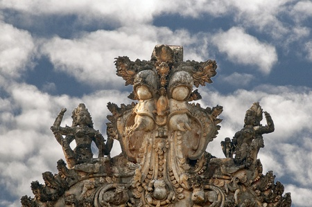 Gopura of an ancient Shiva temple in ruins photo