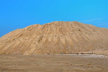 sand quarry: yellow gravel sand quarry mountain for construction concrete
