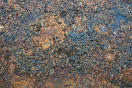 patina: Close up details of rust in cast iron