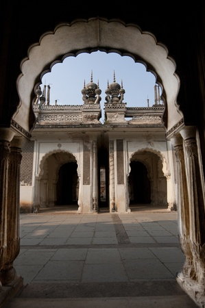 Intricate muslim architecture at the paigah tombs in hyderabad, India Stock Photo