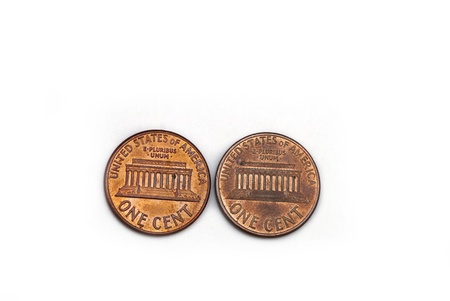 copper coin: Two american cents isolated on a white background