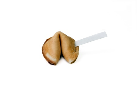 A fortune cookie isolated on a white back ground photo