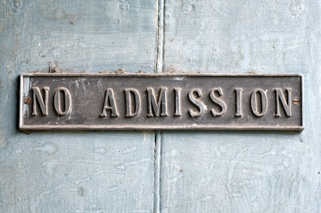 An antique no admission board in an ancient church in India Stock Photo - 13396615