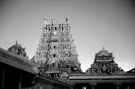 intricate artwork at ancient hindu temple Stock Photo