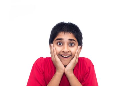 indian fair: A handsome indian kid looking very excited Stock Photo