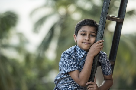 Handsome Indian toddler ready to go to school Stock Photo - 16292937