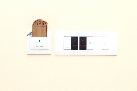 dimmer: Hotel key used as a switch in a hotel room
