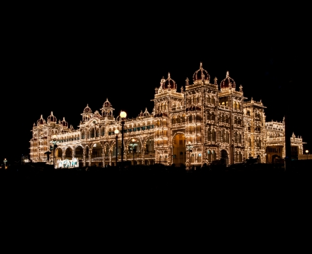 mysore: Mysore palace at full lights during Dussera Festival Editorial