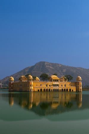 sagar: Water Palace (Jal Mahal) in Man Sagar Lake. Jaipur, Rajasthan, India. 18th Century. The palace Dzhal-Mahal