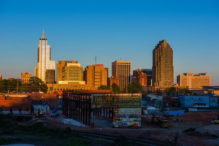 RALEIGH - APRIL 10: Skyline of Raleigh, NC during summer at dusk on April 10, 2016 in Raleigh, NC, USA Editorial