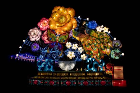 beautifull lit Lanterns for the chinese new year Imagens