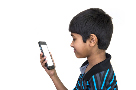 an handsome kid addicted to his cell phone
