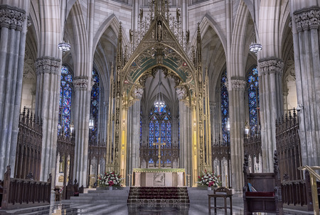 Interior details of St Patrick Cathedral in NY