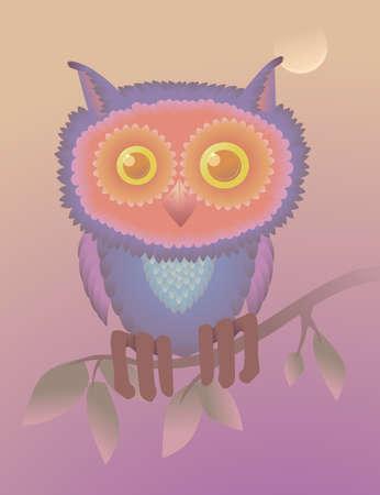 Violet owl sitting on tree  Vector