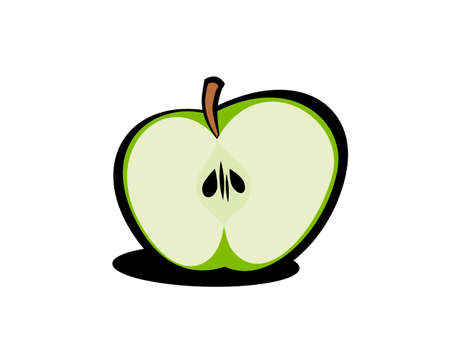 apple slice: Green apple 1. You can check my portfolio to find more images of this series. Illustration