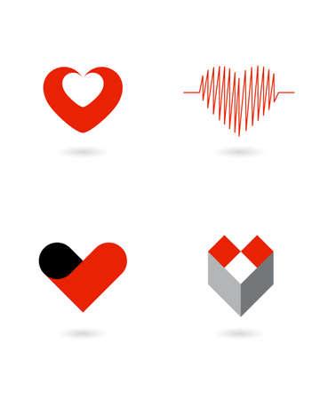 medical logo: vector hearts 1 Illustration