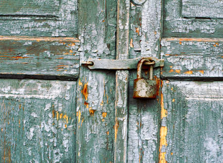 antique keyhole: old lock on a door Stock Photo
