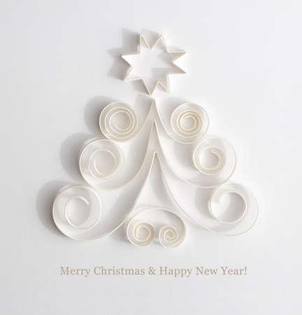 Árboles de Navidad aislados en blanco Foto de archivo