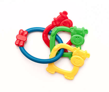 teething: toys for teething, colorful Stock Photo
