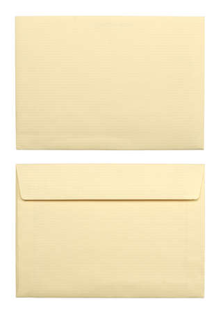 close up of a two beige envelopes on white background with clipping path Stock Photo - 9341171