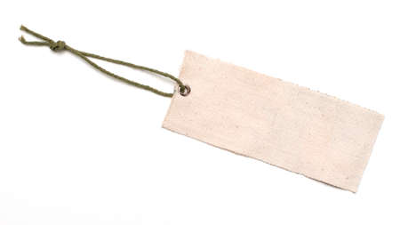 close-up of an empty tag on pure white background