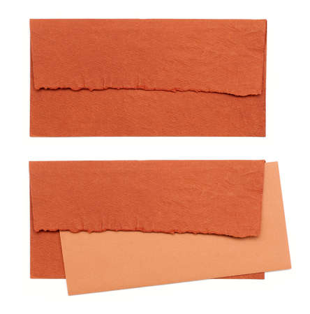 sealable: orange envelope by hand on a white background
